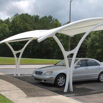 White Car Parking Tensile Structure